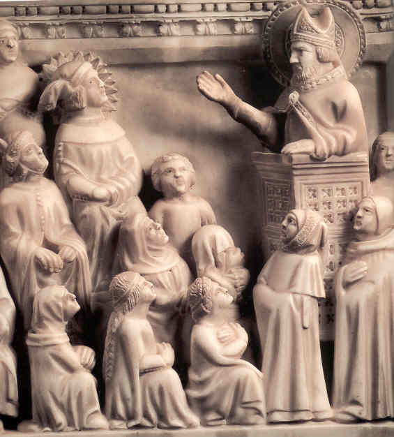 Particolare dell'Arca di Sant'Agostino: il giovane Agostino ascolta il vescovo Ambrogio