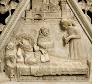Arca di Sant'Agostino, particolare, Agostino benedicente