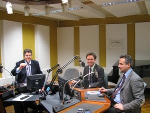 Studi della Radio Vaticana: da sinistra Luca Collodi, Alessandro Cattaneo, Antonello Sacchi