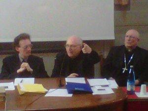 Lectio Augustini, il prof. Angelo Di Berardino. Accanto il vescovo di Pavia monsignor Giovanni Giudici