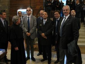 Nella foto padre Giovanni Lenzi, il presidente della Provincia di Pavia Daniele Bosone, il sindaco Alessandro Cattaneo, il senatore Roberto Mura