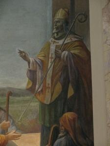 Sant'Agostino appare ai pellegrini, particolare. Chiesa di Sant'Agostino, Cava Manara (PV)