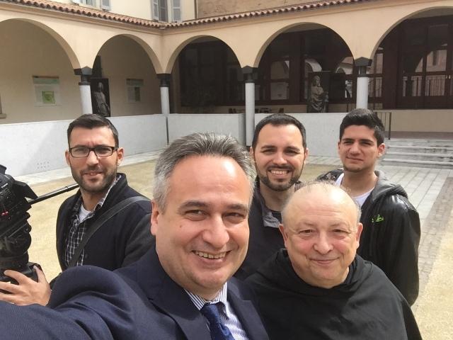 Padre Mario Millardi,  Antonello Sacchi, Enrico Selleri e il service di Tv2000