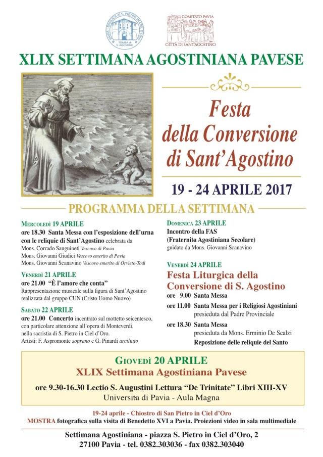 Programma della Settimana Agostiniana Pavese