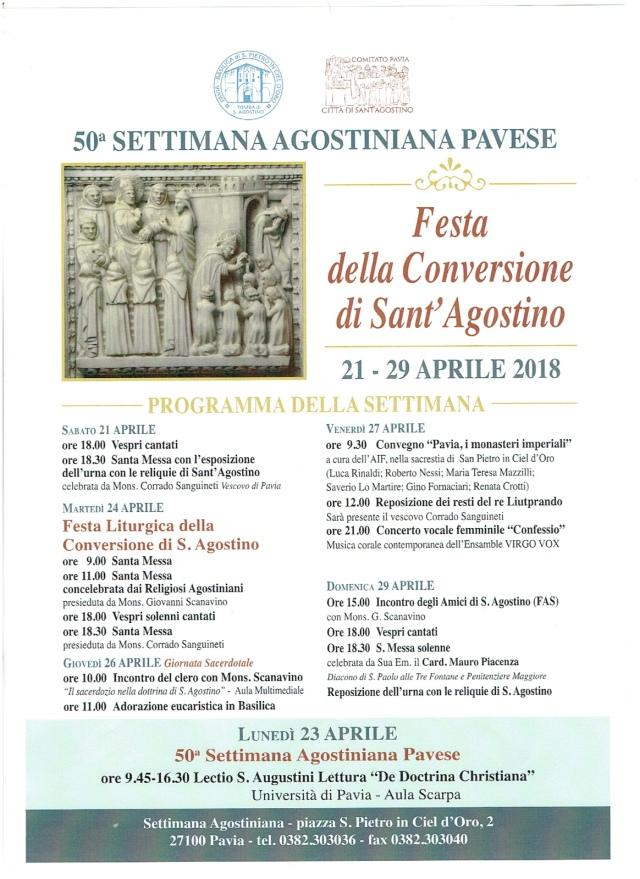 Il programma della 50esima Settimana Agostiniana Pavese